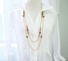 Vintage MONET Double Chain Necklace, Amber Brown Glass Beads, Long Snake... - $32.00