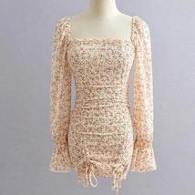 Women's Vintage Floral Double Drawstring Long Sleeve Sundress image 5