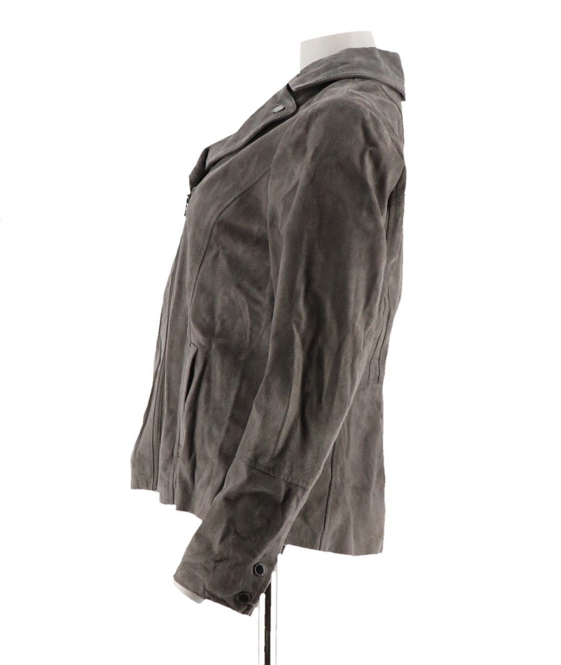 Isaac Mizrahi Suede Motorcycle Jacket Printed Lining Pockets Grey 8 NEW A293552