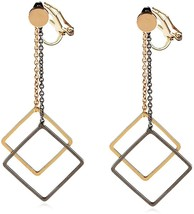 Clip on Earring Back with Pad Two-tone Square Dangle for Girl Kid no Piercing - $45.04