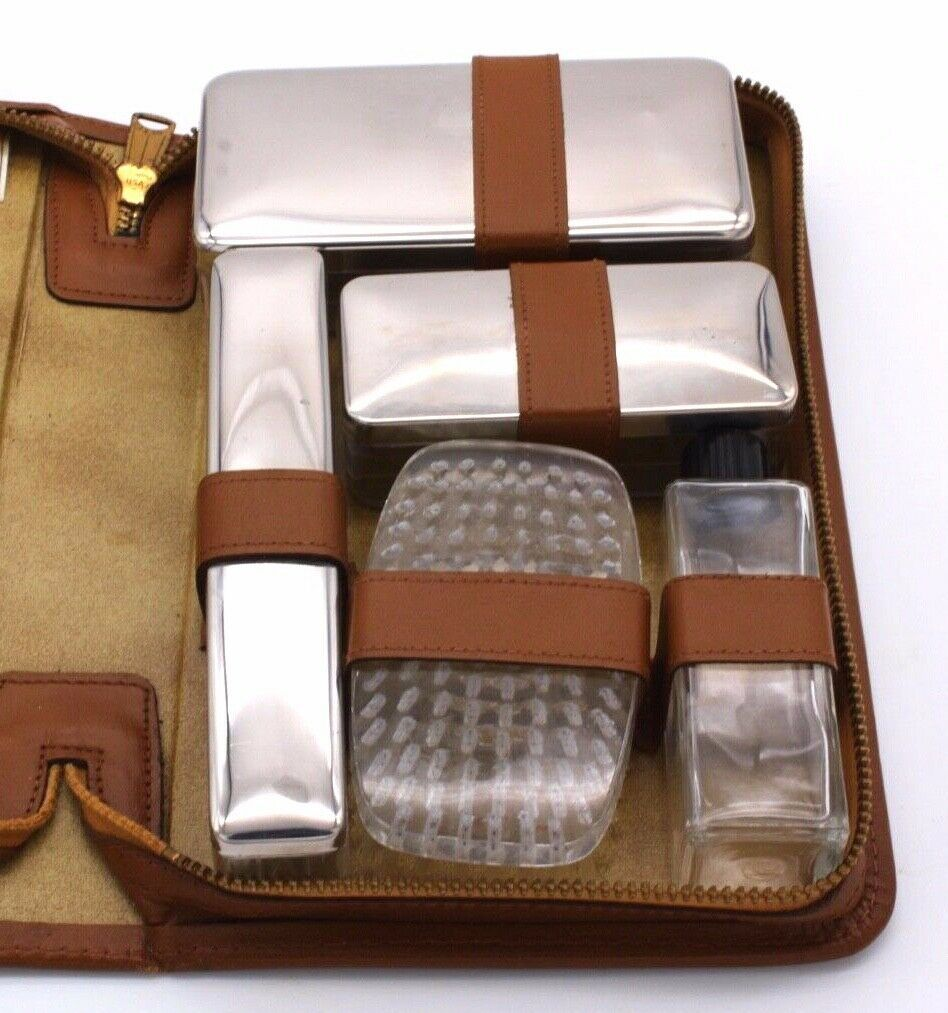 Vintage Tan Leather Men's Travel 10 Piece Groom Toiletry Kit Monogrammed