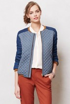 Nwt Anthropologie Blue Quilted Chambray Jacket By Valentine Gauthier Paris M - $123.49