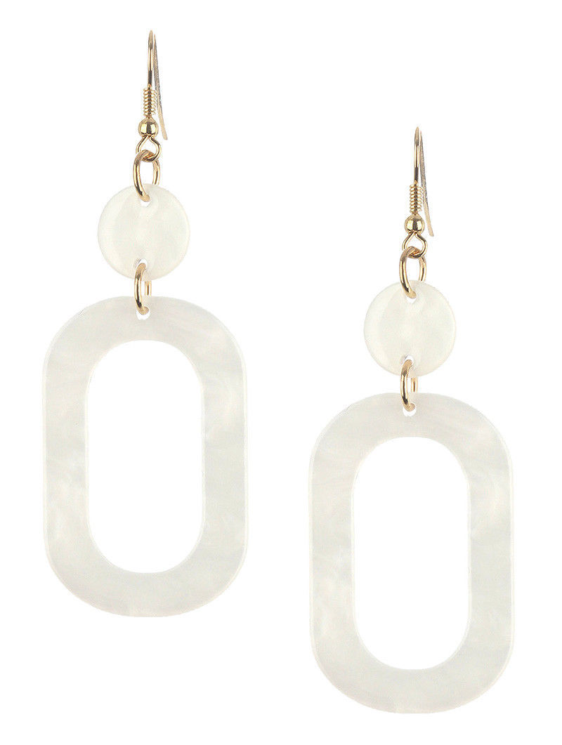 "Retro Vintage Style Marble Lucite Stone Dangle Earrings White 3"" Drop"