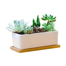 6.5 Inch Rectangle White Ceramic Succulent Planter Pot Decorative Cactus... - $11.59