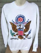 VTG 1991 Desert Storm US Flag Eagle White Sweatshirt Size XL Patriotic - $15.93
