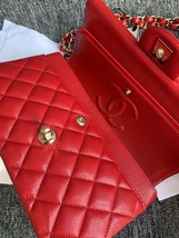 AUTH BNWT CHANEL 2019 RED CAVIAR QUILTED MEDIUM DOUBLE FLAP BAG GHW RECEIPT image 8