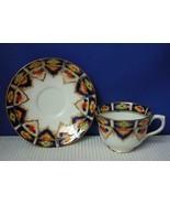 Vintage TAYLOR & KENT Cobalt Blue & Floral Footed TEA CUP & SAUCER #5446... - $16.48