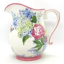 Harry & David Butterflies Hydrangeas & Peonies Water Juice Pitcher 2007 ... - $19.99