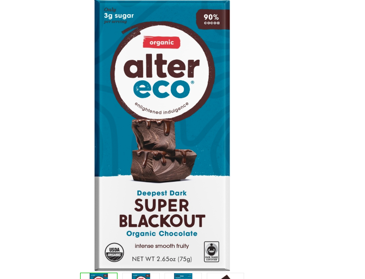 Keto Candy: Alter Eco Dark Chocolate low carb Super Blackout 3 bars(7 net carbs)