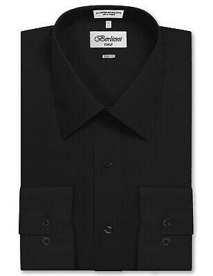 Berlioni Italy Men's Black Slim Classic Standard Cuff Button Up Dress Shirt - M