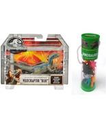 Jurassic World Velociraptor Blue Figure and Set of 12 Mini Dinosaurs Fig... - $22.99