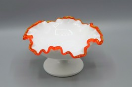 Fenton Flame Crest Milk Glass Candy Dish Orange Ruffled Edge Bonbon Compote - $96.57