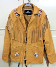 Men's New Native American Tan Buckskin Goat Leather Fringes Beads Jacket... - $157.00+