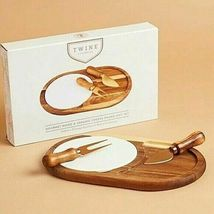 Twine Living Wood & Ceramic Cheese Board Gift Set Gourmet cheese board NEW image 3