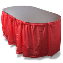 14-foot Red Reusable Plastic Table Skirt, Extends up to 20ft - $15.35