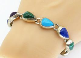 MEXICO 925 Silver - Vintage Onyx Turquoise & Malachite Chain Bracelet - ... - $90.00
