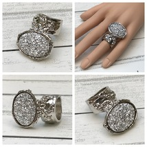 Druzy Style Arty Statement Ring SZ 6 Knuckle Art Women Silver Iridescent... - $22.99