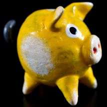 Handmade Oaxacan Copal Wood Carving Folk Art Yellow Pig Bobble Tail Figurine image 4