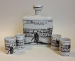 Altenkunstadt Germany Decanter 4 Shot Glass Cups Cork Stopper Windmill Porcelain