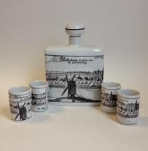 Altenkunstadt Germany Decanter 4 Shot Glass Cups Cork Stopper Windmill P... - $45.00