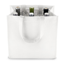 6 Bottle White Non Woven Tote by True - $7.64 CAD