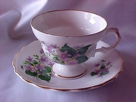Royal Dover Bone China Cup Saucer Purple Flowers Gold - $19.99
