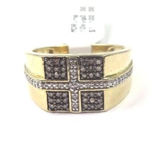 10k Yellow Gold Men's Pave Set Diamond Ring With Cross Design - $416.08