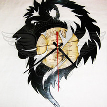 VINYL PLANET Wall Clock LION Home Record Unique Decor upcycled 12'' - $29.25