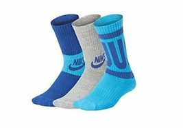 "Nike""Just Do It"" Youth 6-7 Small 3 Pair Pack Crew Socks VN0001-B68 - $15.99"