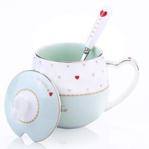 AWHOME Fine Ceramics Coffee Mugs Spoon and Lid Tea Cup Gift for Women Mo... - $16.46