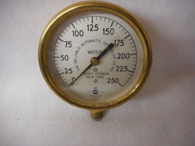 Brass US Air & Water Gauges Reliable Automatic Sprinkler Co Mount Vernon NY 2pcs