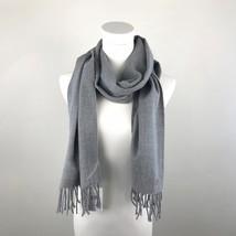 Calvin Klein womens scarf gray silver fringe rectangular 66 x 12 NEW NWT... - $18.69