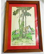 """Vintage Clyde E Gray Signed Watercolor Framed The Old Homestead Art 18"""" ... - $89.95"""