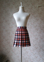 Women Girl Pleated Plaid Skirt Plus Size Short Plaid Skirt School Skirt - Orange