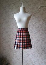 Orange Plaid Skirt High Waisted Full Pleated Plaid Skirt School Skirt image 1