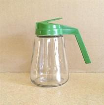 Vintage Gemco Glass 12 Oz Sugar /Syrup /Cream Dispenser with Green Flip-... - $8.50