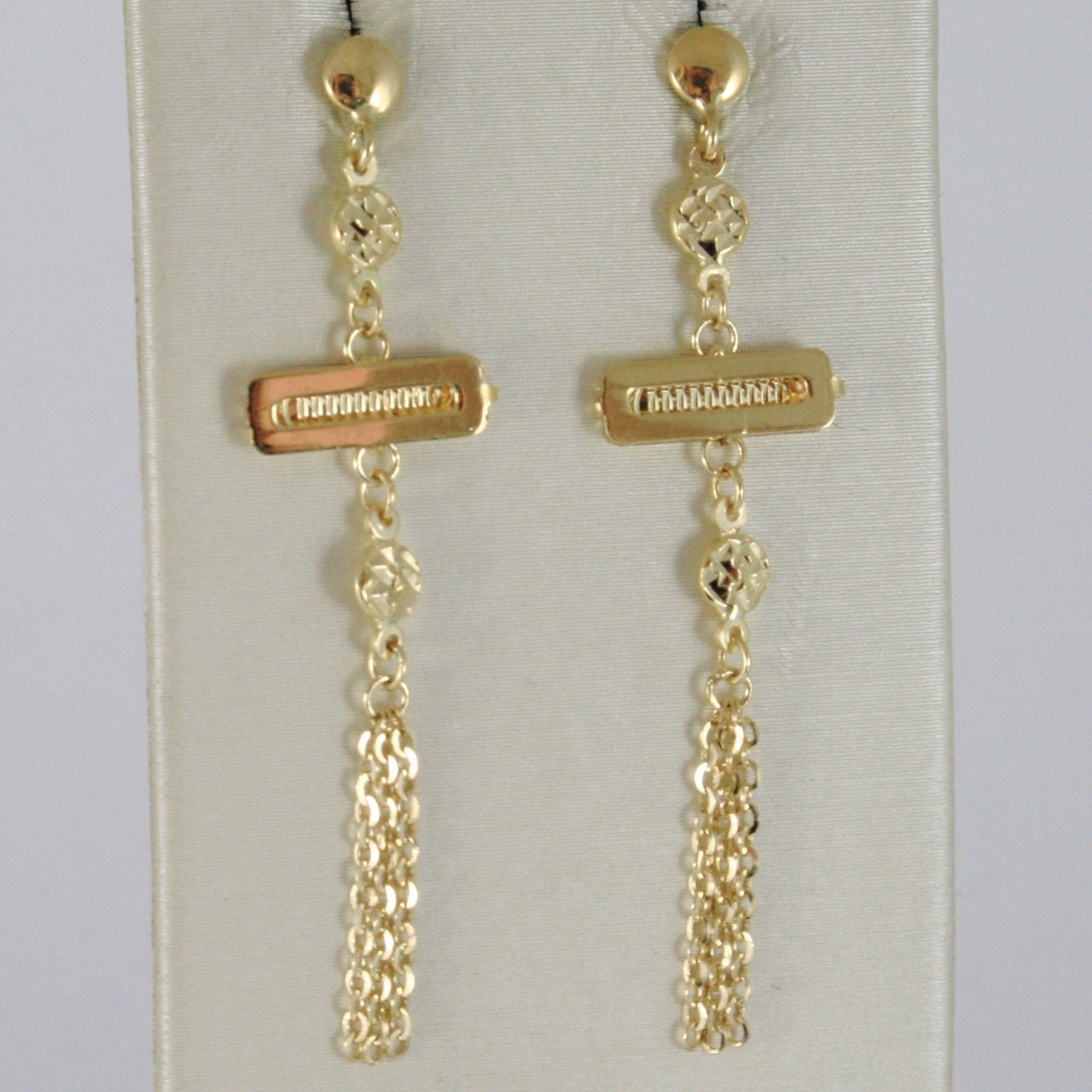 SOLID 18K YELLOW GOLD LONG PENDANT EARRINGS WITH WORKED DISC & ROLO FRINGE