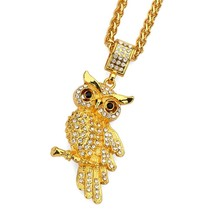 Jewelry Men's Hip Hop Owl Pendant Necklace with 30'' 18k Real Gold Chain f - $46.19