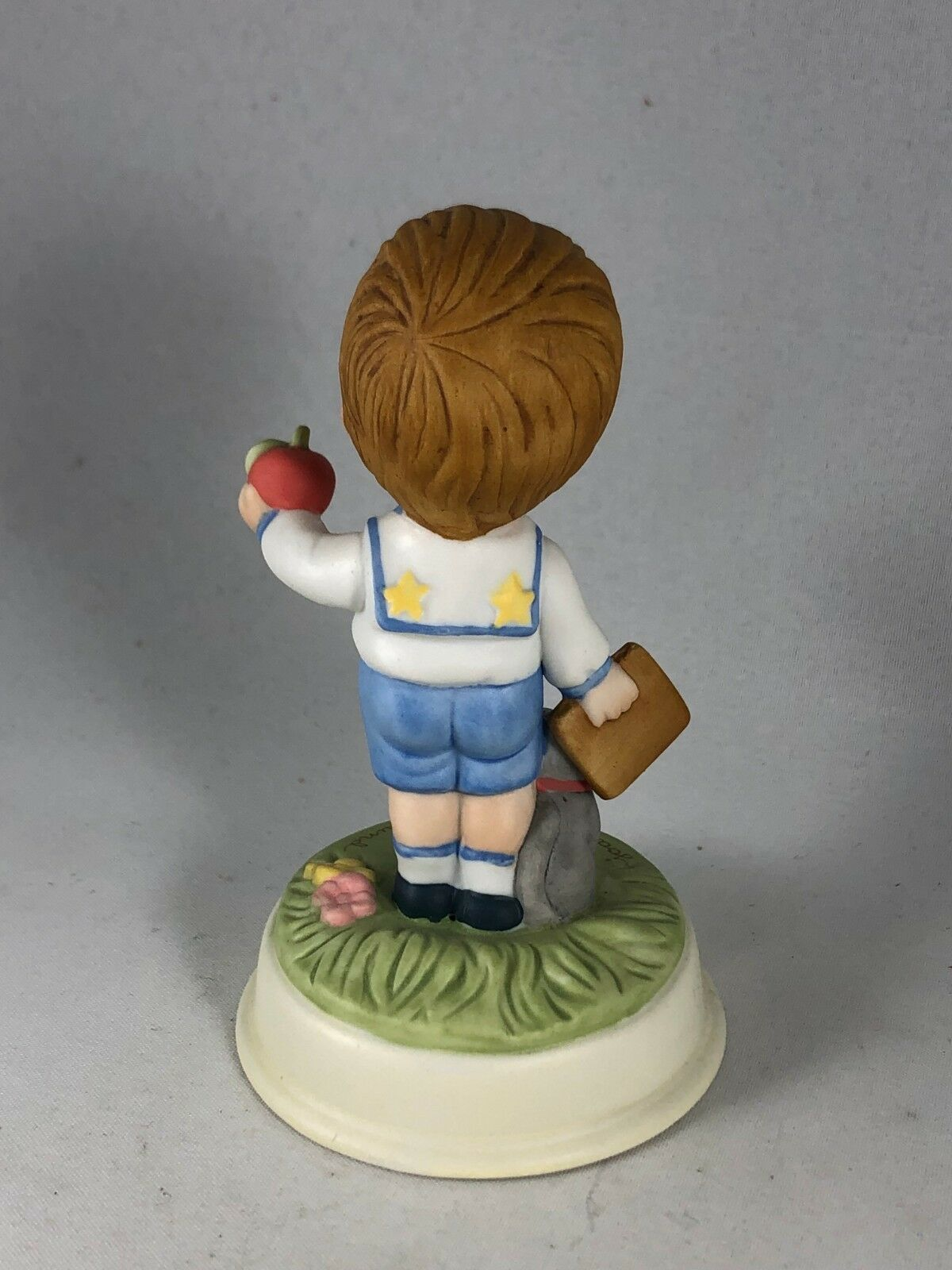 Vintage Avon Cute Little Boy Porcelain Figurine - Joan Walsh Anglund School Days