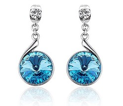 Earrings Blue Drop Dangle Ear-Stud for Pierced Ears Made with Swarovski - $33.71