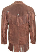 Men's New Brown Western Native American Cow Suede Leather Fringe Jacket FJ41  image 3