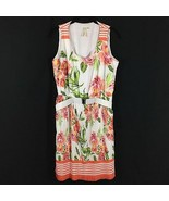 Emma & Michele Sleeveless Floral Dress Size 12 Belt White Peach Green Pl... - $21.77