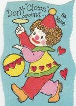 Vintage Valentine Card Clown Don't Clown Around Be Mine 1970's Unused - $5.93