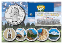 2010 America The Beautiful COLORIZED Quarters U.S. Parks 5-Coin Set w/Ca... - $12.82