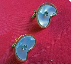 Cuff Links - Mother of pearl with clear stone. - $10.89