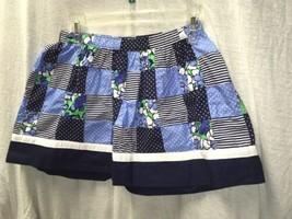 Gymboree Girls Blue White Floral Polka Dots Checkered Skirt Size 12 - £7.56 GBP