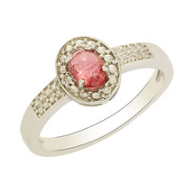 925 Sterling Silver Pink Tourmaline White Topaz Ring Jewelry Sz 5 SHRI0207 - £14.34 GBP