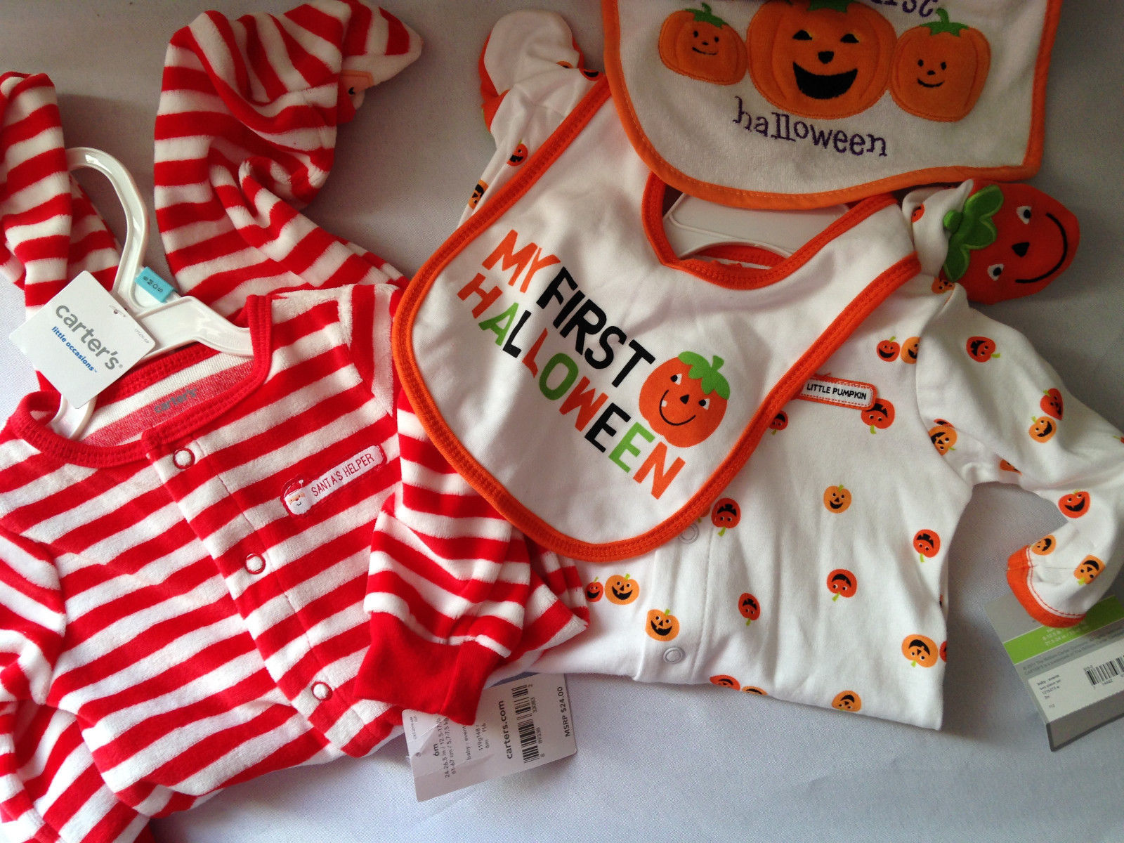 NWT Carter's Baby Essentials Lot Bibs Rompers Halloween Christmas Santa 3 6 mo
