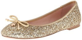 New Kate Spade New York Women's Willa Ballet Loafer Flats Shoes Gold Glitter image 2