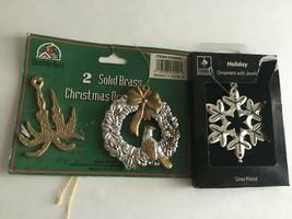 "Vintage Christmas Ornaments Resin & Brass 3"" Ornaments - $8.67"